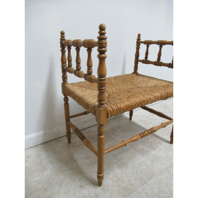 1990s 1990s Vintage Faux Bamboo French Regency U Bench Ottoman Vanity Seat Stool Rush Seat For Sale - Image 5 of 11
