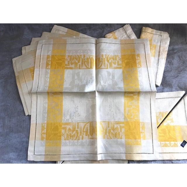 Vintage Damask Linen Napkins - Set of 12 For Sale In New York - Image 6 of 13