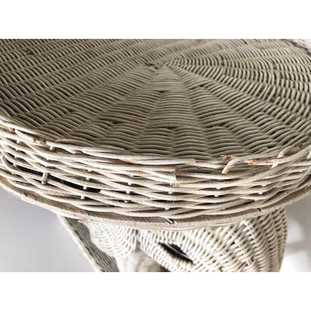 Vintage Wicker Elephant Garden Stool Side Table For Sale - Image 9 of 13