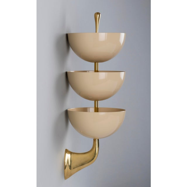 1950s 1950s Mid-Century Modern Stilnovo Tiered White Enamel and Polished Brass Sconces - a Pair For Sale - Image 5 of 8