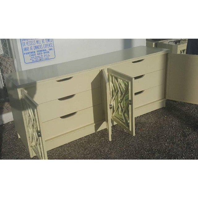 White Faux Bamboo Chinese Chippendale Credenza For Sale - Image 5 of 10