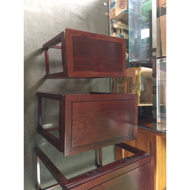 Asian Set of Rosewood Nesting Tables For Sale - Image 3 of 13