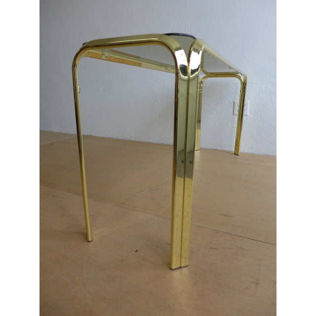Milo Baughman Smoked Glass Brass Console Table For Sale - Image 4 of 8
