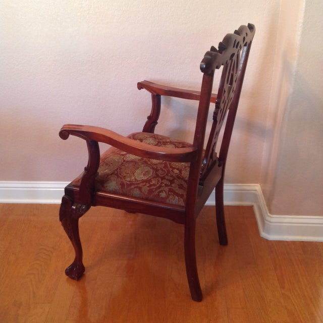 Chippendale Mahogany Arm Chair For Sale - Image 4 of 6