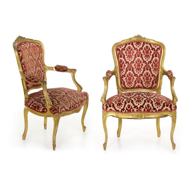 French Louis XV Style Carved Giltwood Antique Arm Chairs - Set of 2 For Sale - Image 13 of 13