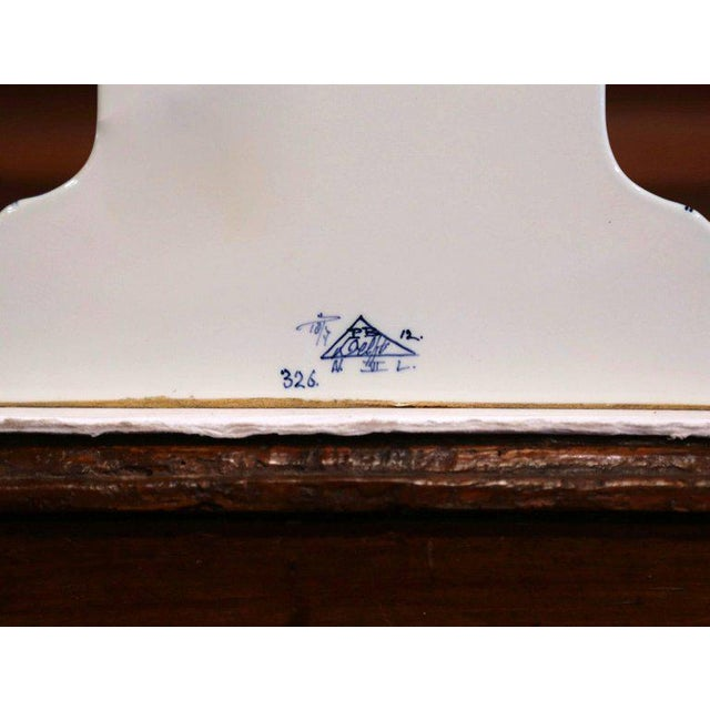 Early 20th Century Dutch Hand-Painted Blue and White Faience Delft Mantel Clock For Sale - Image 12 of 13