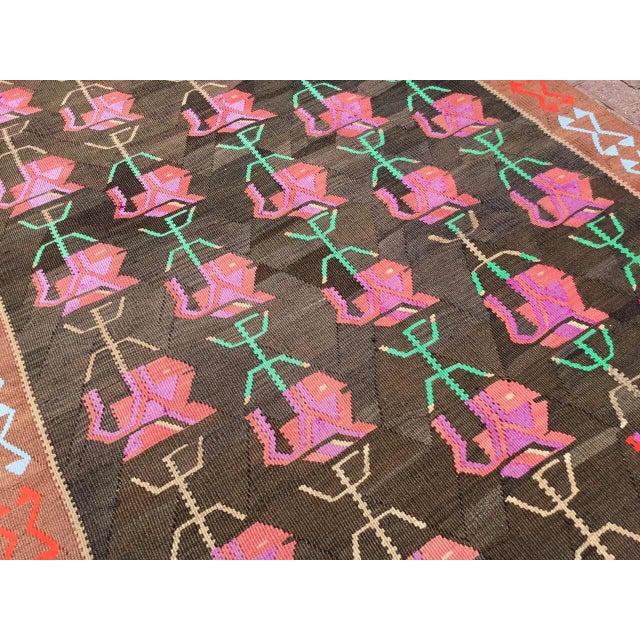 Vintage Floral Kilim Rug For Sale - Image 9 of 11