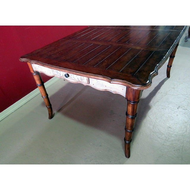 Mid 20th Century 20th Century Chippendale Faux Bamboo Dining Room Table For Sale - Image 5 of 9
