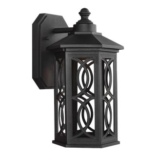 Lena Small LED Outdoor Wall Lantern, Black For Sale