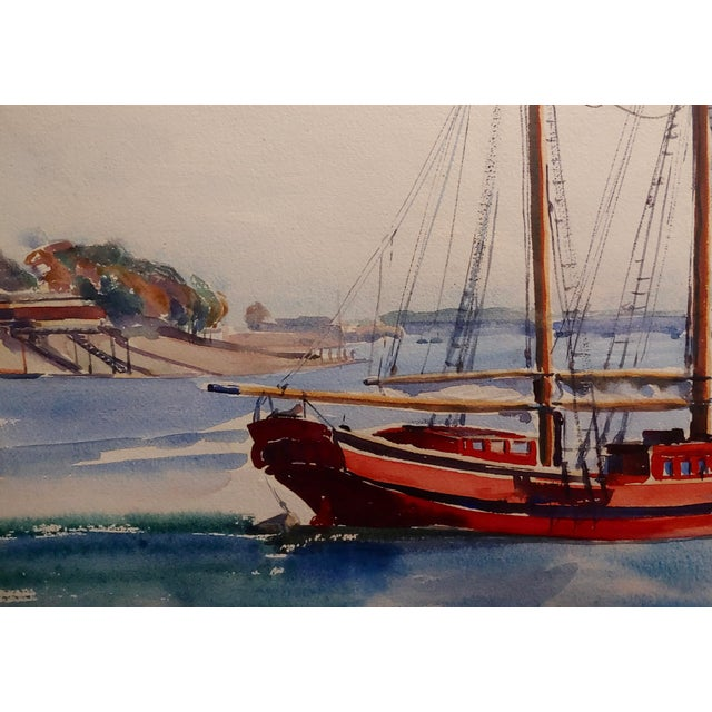 1950s Virgene Hawthorne - Red Sail Boat Resting at Bay - 1950s Painting For Sale - Image 5 of 9