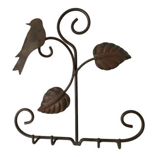 1980s French Wrought Iron Coat Rack With Bird and Leaves For Sale