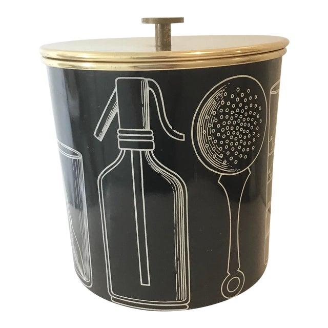 Fornasetti Vintage Mid-Century Ice Bucket For Sale