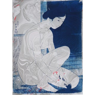 Hashiguchi Goyo Inspired Japanese Cyanotype With Marbling on Watercolor Paper, Traditional Japanese Nude Scene, 50x70cm For Sale
