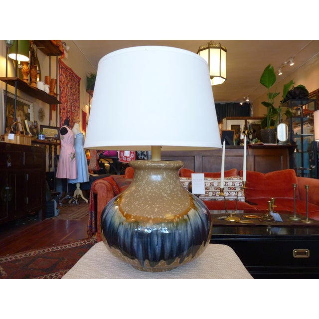 Blue and Tan Drip Glaze Table Lamp - Image 3 of 8
