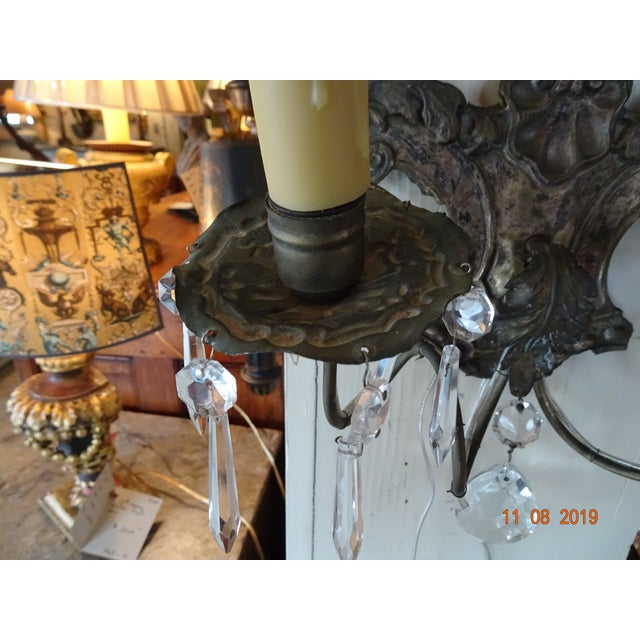 Late 19th Century Pair of 19th Century Italian Crystal Sconces For Sale - Image 5 of 12