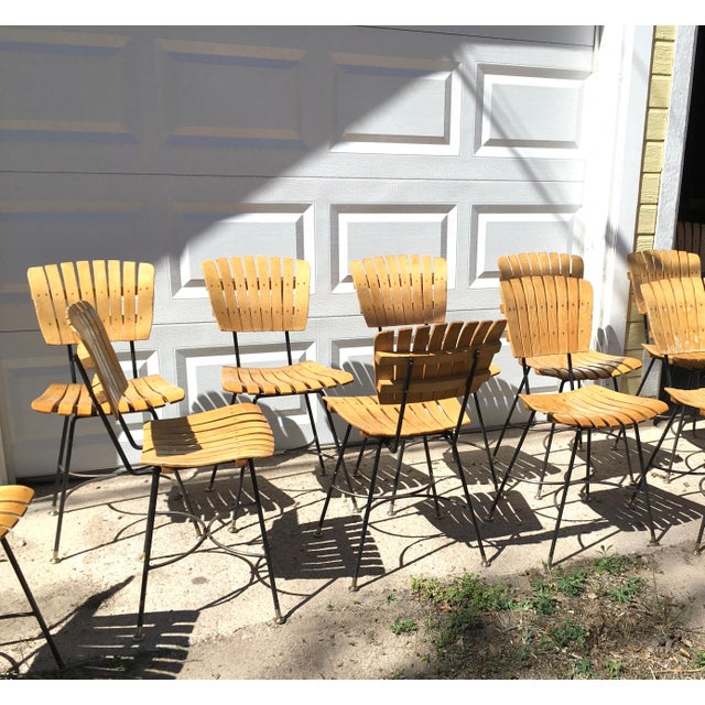 Arthur Umanoff Slatted Wood & Iron Chairs - Set of 30 For Sale - Image 10 of 13