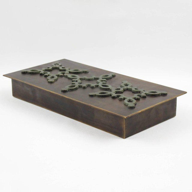 Mid 20th Century 1940s French Modernist Decorative Lidded Brass Box For Sale - Image 5 of 9
