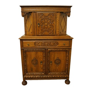"Bernhardt Furniture Oak English Revival Gothic Jacobean 40"" Storage Cupboard For Sale"