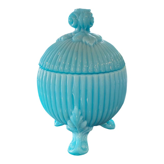 Portieux Vallerysthal Blue Opaline Candy Dish For Sale