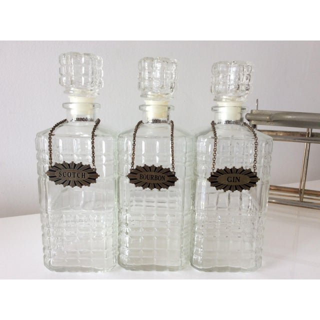 Vintage 3 Glass Decanters With Chrome Tantalus For Sale - Image 4 of 9