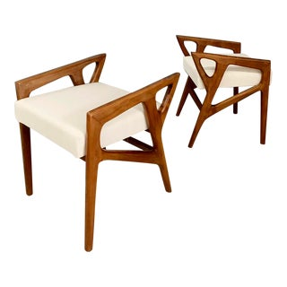 Stools by Gio Ponti in Walnut & White Fabric - A Pair For Sale