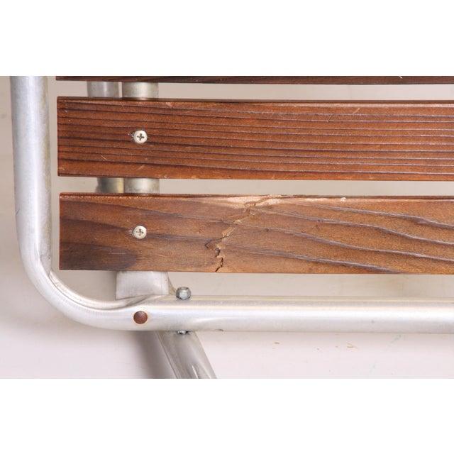 Vintage Redwood & Aluminum Folding Rocking Chairs - Set of 4 - Image 6 of 11