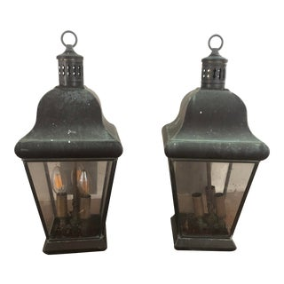 Georgian Art Lighting Solid Brass Outdoor Lighting - a Pair For Sale