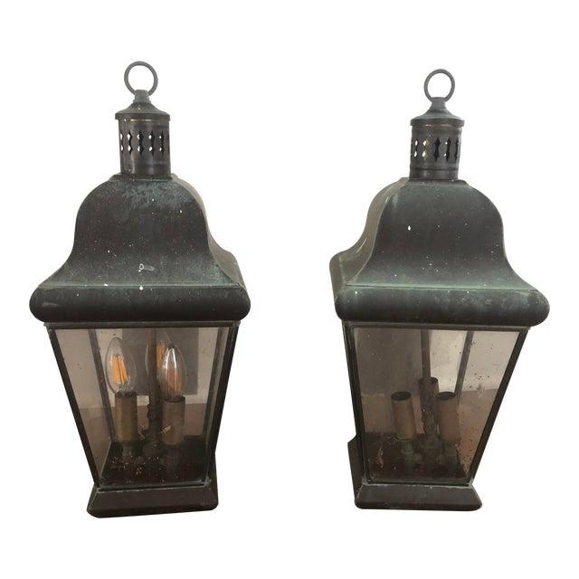 Georgian Art Lighting Solid Brass Outdoor Lighting - a Pair For Sale