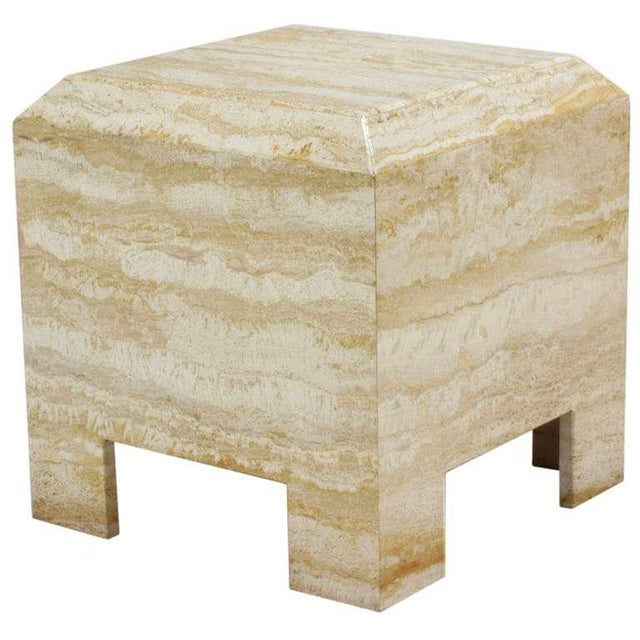 1980s Custom Travertine End Table For Sale - Image 5 of 6