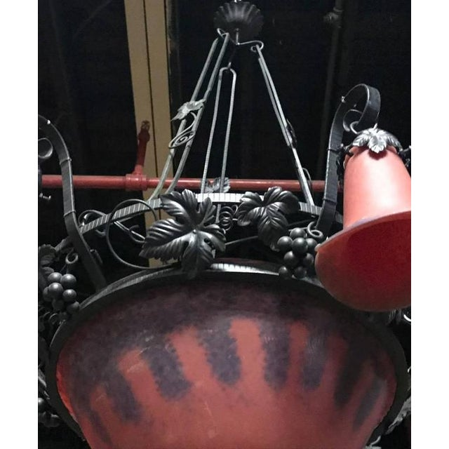 French Art Deco Red and Blue Chandelier For Sale In New York - Image 6 of 6