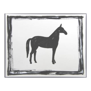 Abstract Horse Painting Black and White by Cleo Plowden For Sale