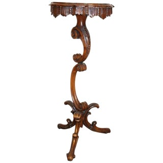 19th Century Italian Carved Walnut Gueridon Table or Pedestal Table For Sale