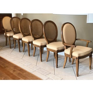 20th Century Thomasville Louis XVI Gingham Check Cane Dining Chairs – Set of 6 Preview