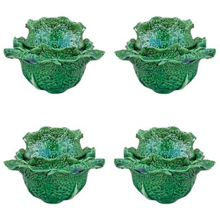 Early 20th Century Portuguese Cabbage Bowls- Set of 4 For Sale