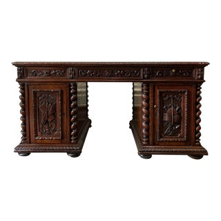19th Century French Carved Oak Hunt Barley Twist Partners Desk For Sale