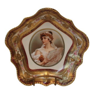 Gilded Classical Muse Portrait Ornate Bowl