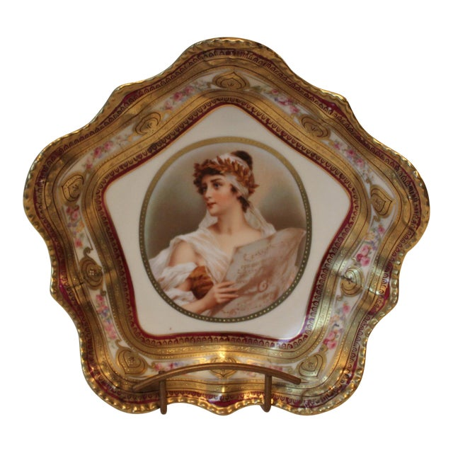 Gilded Classical Muse Portrait Ornate Bowl For Sale