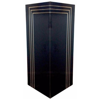1980s Glossy Black & Brass Pedestal