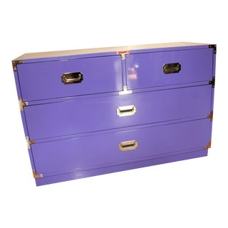 Bernhardt Campaign Lavender Lacquered Dresser or Chest For Sale