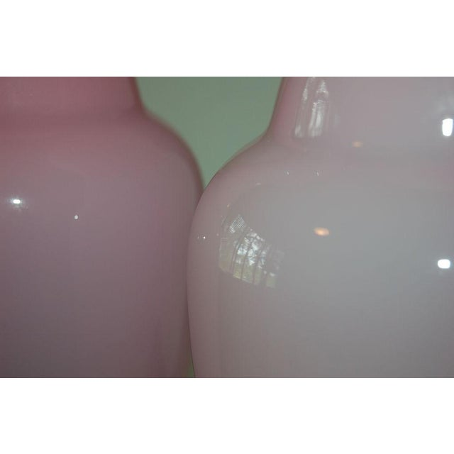Vintage Murano Glass Table Lamps Pink- A Pair For Sale - Image 9 of 9