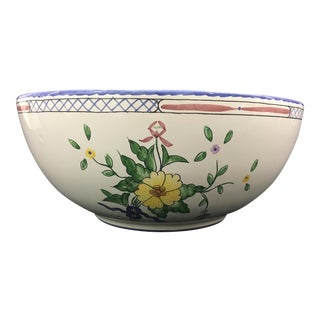 "Tiffany & Co. 10"" Hand Painted ""Lisbon"" Salad/Serving Bowl For Sale"