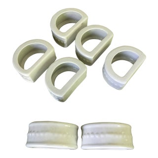 Ceramic Solid White, Large Napkin Rings - Set of 7