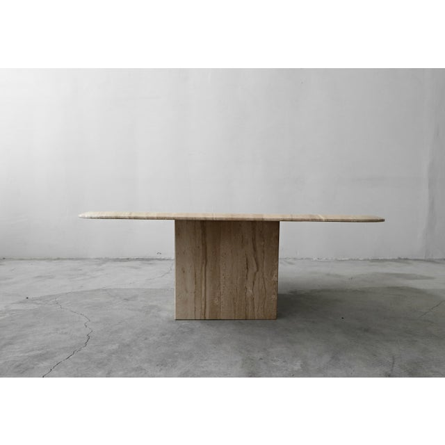 Roche Bobois Square Polished Italian Travertine Coffee Table For Sale - Image 4 of 7