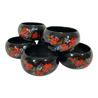 Hand-Painted Lacquer Napkin Rings, Set of 6 For Sale