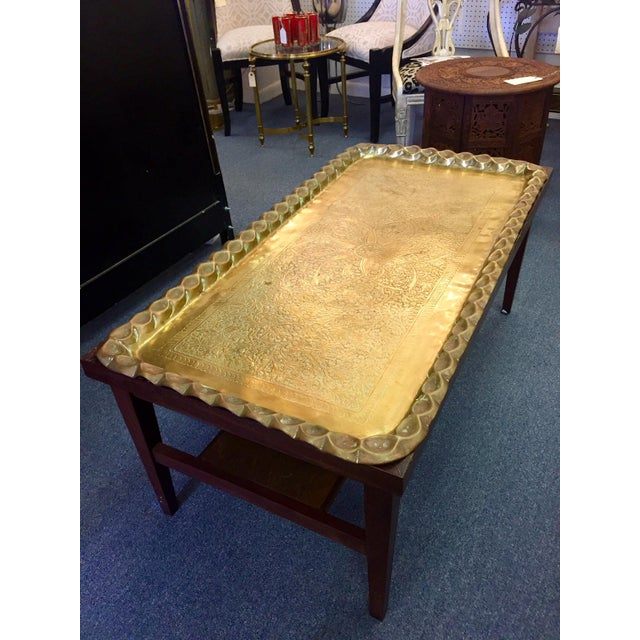 Moroccan Style Hand-Etched and Hammered Brass Tray Top Table For Sale - Image 11 of 12