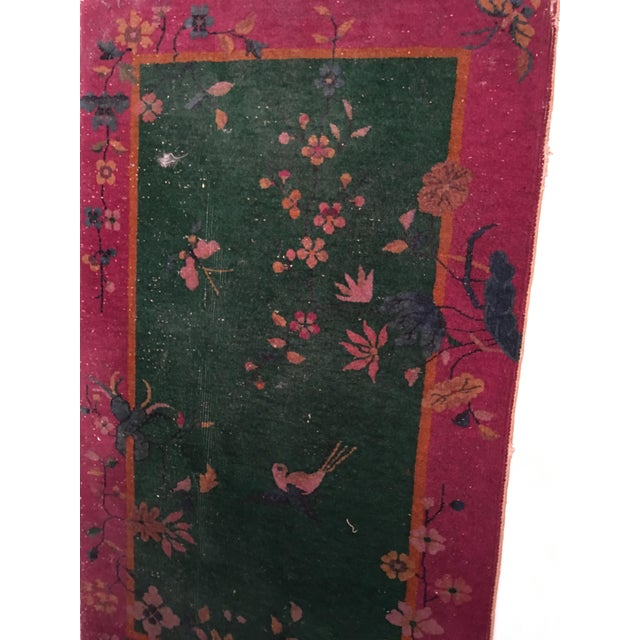 Antique Chinese Art Deco Flowers & Birds Rug - 2′11″ × 4′10″ - Image 4 of 9