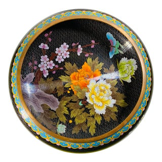Early 20th Century Antique Chinese Floral Peony Cloisonne Enamel Copper Bowl For Sale