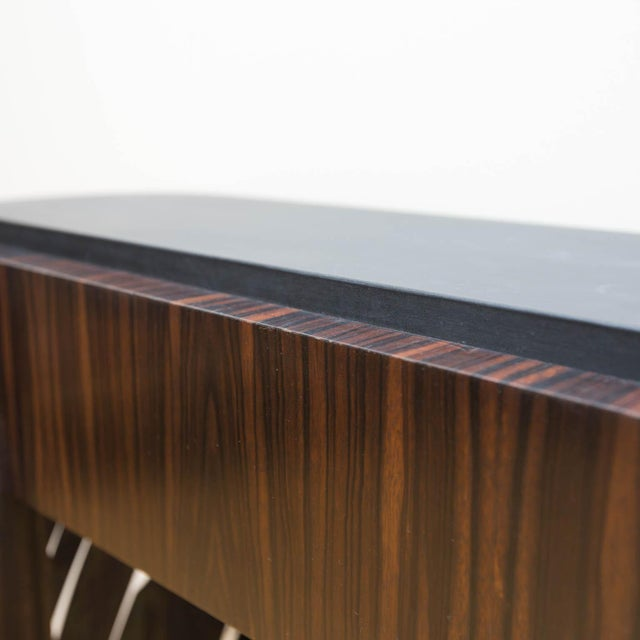Modern Macassar Ebony and Patinated Steel Console Table by Gregory Clark For Sale - Image 3 of 8