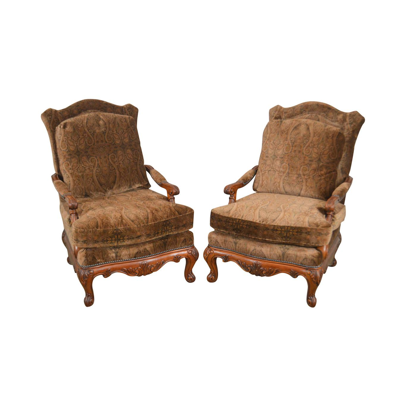 Henredon French Louis XV Style Carved Mahogany Large Pair Fauteuil Lounge  Chairs For Sale   Image