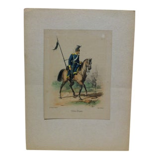 "Mid 19th Century Antique E. Simon ""Uhlan (Prusse)"" Hand-Colored Print For Sale"